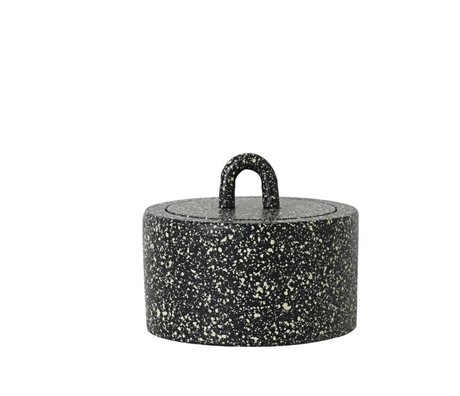 Ferm Living Stock Potty Spotted Ø9,5x6cm fonte noir et blanc