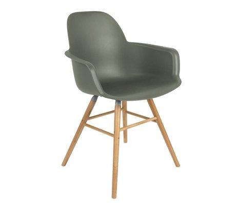 Zuiver Dining chair Albert Kuip armrest green plastic timber 59x55x81,5cm