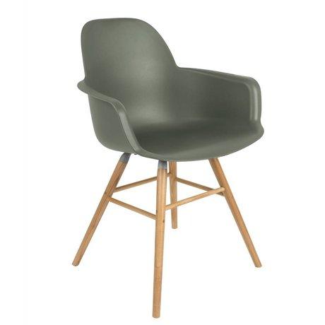 Zuiver Salle à manger Chaise Albert Kuip accoudoir plastique vert bois 59x55x81,5cm