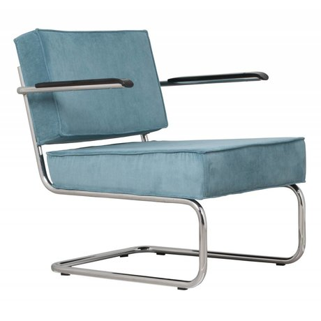 Zuiver Recliner lounge arm blue ridge rib 12a 58x75x79cm