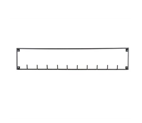 LEF collections Coat hook 10 hooks Meert black metal 16x82,8x3,5cm
