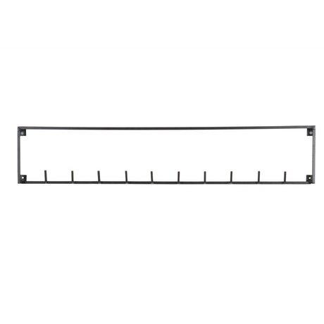 LEF collections Kapstok 10 haken Meert zwart metaal 85.8x3.5x16cm