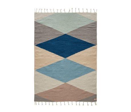 OYOY Hip tapis en laine multicolore retour coton 170x120cm