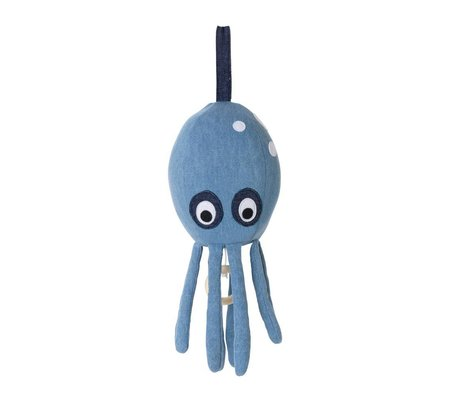 Ferm Living Music Mobile Octopus coton bleu 30x12cm