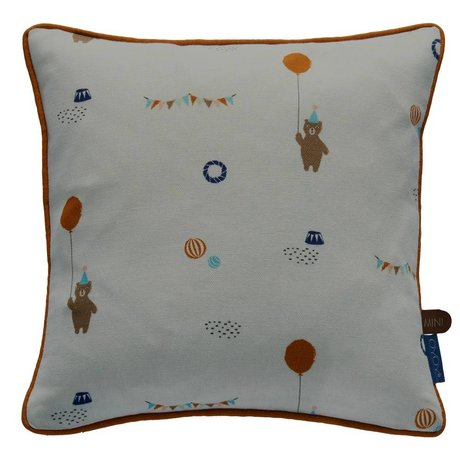 OYOY Throw Pillow Happy circus gray organic cotton 30x30cm