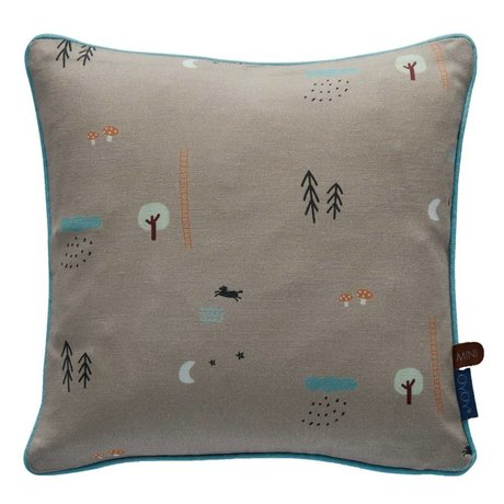 OYOY Throw Pillow Happy forrest gray / brown organic cotton 30x30cm