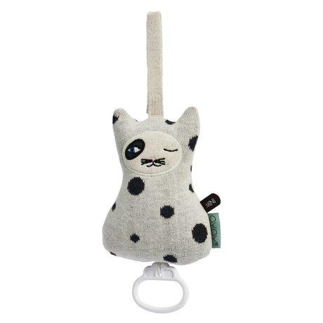 OYOY Mobile Cat musique coton noir et blanc 17x12cm
