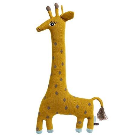 OYOY Câlin Noah girafe coton jaune 64x15x27cm