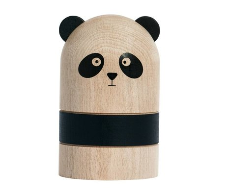 OYOY Spaarpot Panda lichtbruin zwart hout Ø9,5 x 15 cm