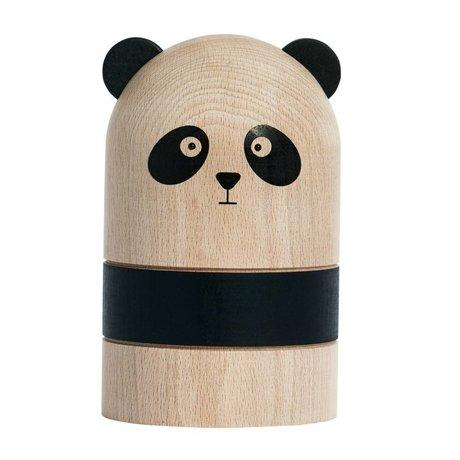 OYOY Moneybox Panda light black wood Ø9,5 x 15 cm