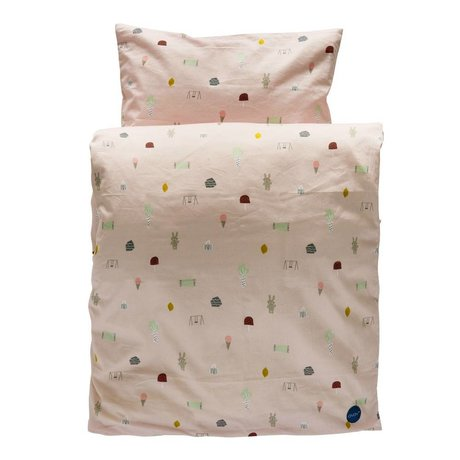 OYOY Duvet Happy summer one-person light pink organic cotton 140x200cm / 60x63cm
