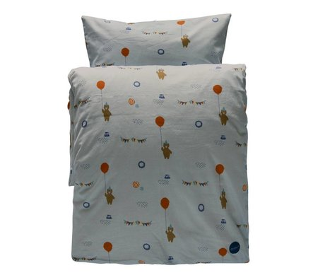 OYOY Duvet Happy circus Junior gray organic cotton 100x140cm / 40x45cm