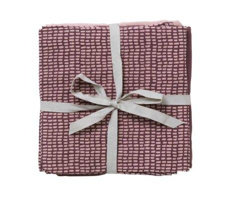 Ferm Living Hydrofiele doek Muslin Diapers taupe lichtroze organisch katoen 70x70cm set van 3