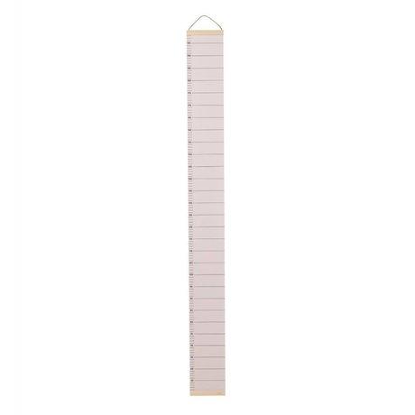Ferm Living lumière Groeimeter papier rose bois 15x1,5x122cm