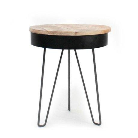 LEF collections Side Table Saria black brown wood metal Ø44x53cm