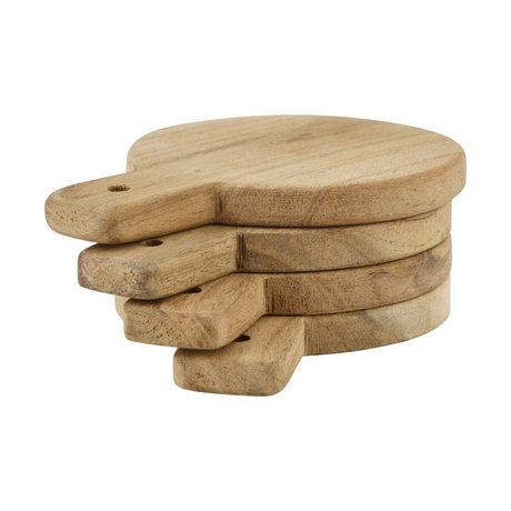 Nicolas Vahe Serve Plate light brown wood set of 4 Ø10x14cm