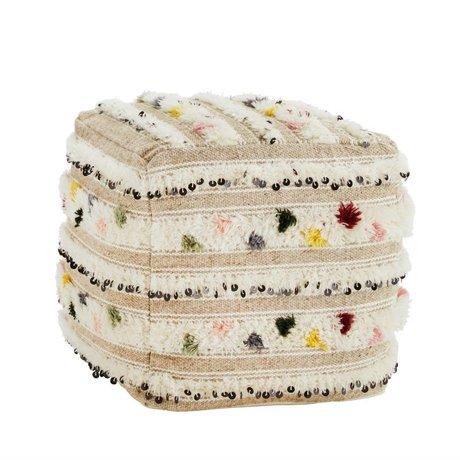 Madam Stoltz Pouf Handwoven laine multicolore 45x45x45cm