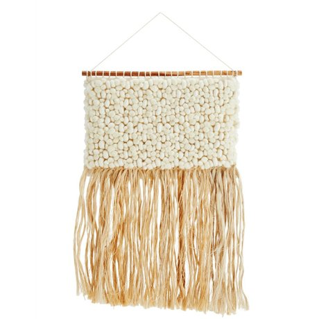 Madam Stoltz Tapestry cream burlap wool 48x95cm