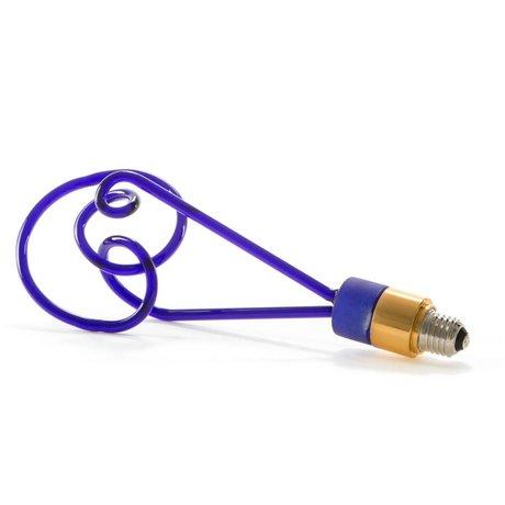 Seletti Twist Lampe LED en verre bleu avec E27 30cm