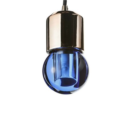 Seletti Ledlamp Crystaled-new Round blauw kristal glas met E27 fitting 7,7x7,7x12,5cm