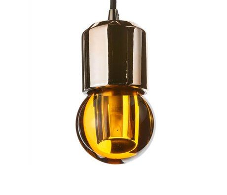 Seletti Ledlamp Crystaled-new Round amber geel kristal glas met E27 fitting 7,7x7,7x12,5cm