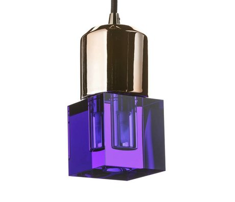 Seletti Ledlamp Crystaled-new Squared blauw kristal glas met E27 fitting 7x7x12,5cm