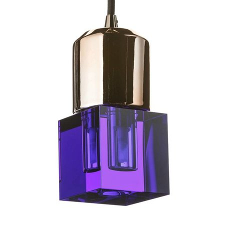 Seletti LED lamp crystaled-new Squared blue crystal glass with E27 7x7x12,5cm