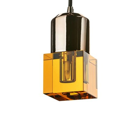 Seletti LED lamp crystaled-Squared new amber crystal glass with E27 7x7x12,5cm