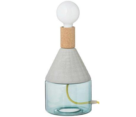 Seletti Lampe de table MRND Dina-verre gris porcelaine liège Ø15,5x29,5cm