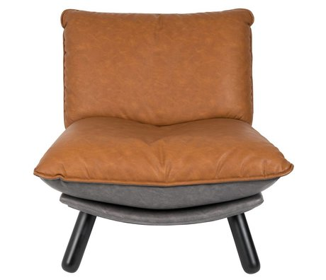 Zuiver Fauteuil Lazy Lounge Sack brun PU cuir 75x94x81cm