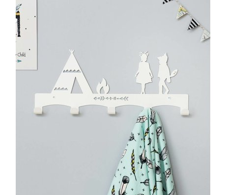Eina Design Tipi white metal coat rack 40x17cm