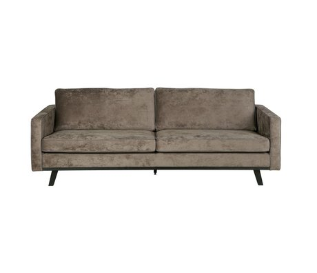 BePureHome 3-zits bank Rebel brushed bruin polyester hout 230x86x85cm