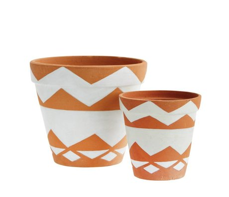 Madam Stoltz Flowerpot hand painted brown and white terra cotta set of 2