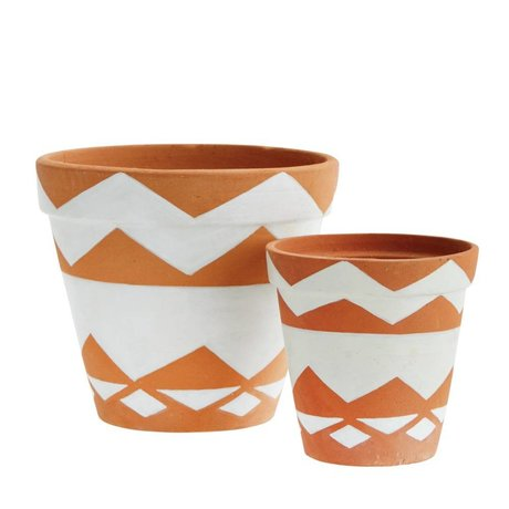 Madam Stoltz Flowerpot main peintes en terre cuite brun et blanc de 2