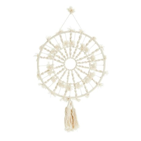 Madam Stoltz Wall decoration round off-white cotton Ø37cm