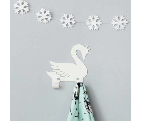 Eina Design Wall Hook swan white metal 14x13cm
