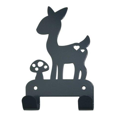 Eina Design cerf patère en métal gris 19x10,5cm
