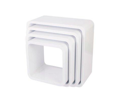Sebra Square white wood storage box set of 4
