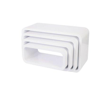 Sebra Opbergbox Oval wit hout set van 4