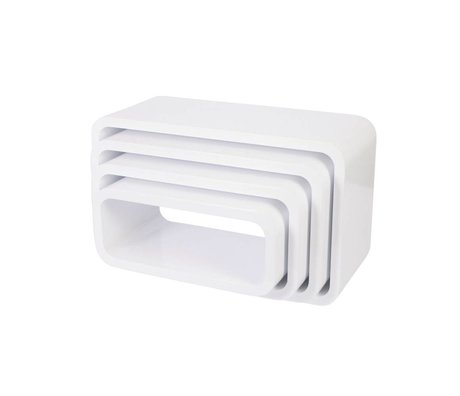 Sebra Oval white wood storage box set of 4