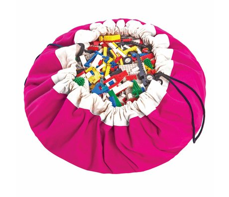 Play & Go Sac de rangement / tapis de jeu classique Ø140cm coton rose fuchsia