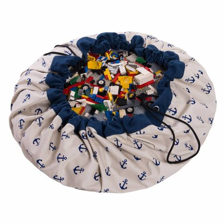 Play & Go Sac de rangement / tapis de jeu Blue Anchor coton bleu Ø140cm