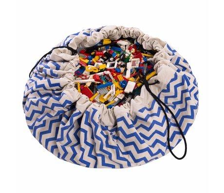 Play & Go Sac de rangement / tapis de jeu Zig Zag bleu coton bleu Ø140cm
