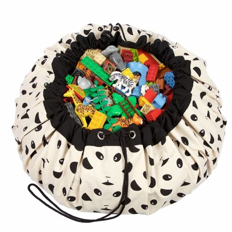 Play & Go Opbergzak/speelkleed Panda zwart katoen Ø140cm