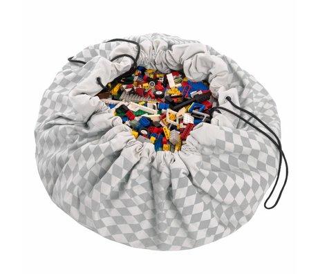 Play & Go Storage bag / playmat Diamond Gray gray cotton Ø140cm