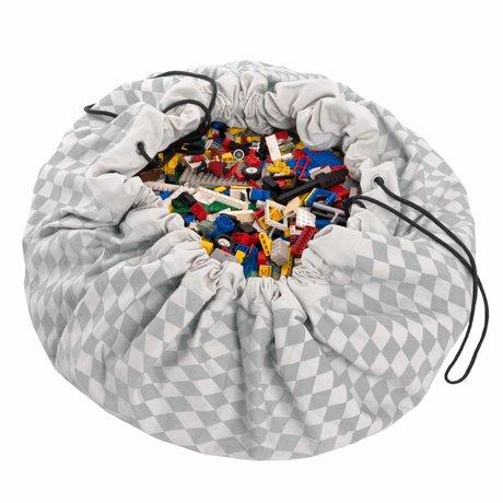Play & Go Sac de rangement / gris diamant playmat coton gris Ø140cm