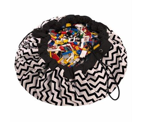 Play & Go Sac de rangement / tapis de jeu Zig Zag noir en coton noir Ø140cm