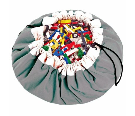 Play & Go Aufbewahrungstasche / playmat Classic Grey grau Baumwolle Ø140cm