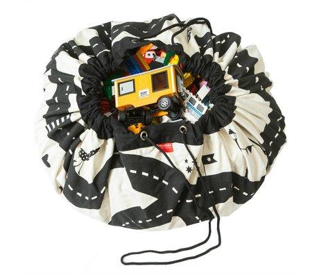 Play & Go Storage bag / toy cloth Roadmap black cotton Ø140cm