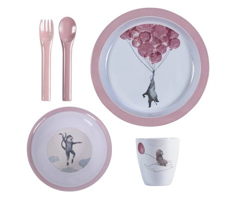 Sebra Kinderservies In the sky roze melamine set van vier